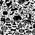 Vector Happy Halloween seamless pattern,classic bundle icons, doodles element for Halloween design. Set of Halloween silhouettes Royalty Free Stock Photo