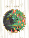 Vector Happy Holidays Postcard...