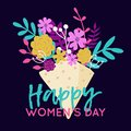 Vector Happy 8 March illustration with bouquet of flowers. Trendy International Women`s Day greeting card, poster