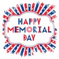 Vector Happy Memorial Day card. Geometric text in a frame. Background with stars and stripes in grunge style.