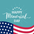 Vector Happy Memorial Day card. National american holiday illustration with USA flag.Festive poster with hand lettering. Royalty Free Stock Photo
