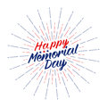 Vector Happy Memorial Day text lettering for greeting card, flyer, poster logo with stars, light rays or fireworks.