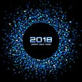 Vector Happy New Year 2018 Card Background. Blue Bright Disco Lights Halftone Circle Frame. Royalty Free Stock Photo