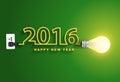 Vector 2016 happy new year concept creative light bulb idea Royalty Free Stock Photo