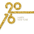 Vector happy New Year 2016 square greeting card with golden glitter texture. Royalty Free Stock Photo