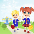 Vector happy schoolgirl and schoolboy near school Royalty Free Stock Photo