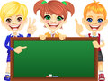 Vector happy smile kids with banner Blackboard Stock Photo