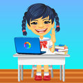 Vector happy smiling Asian schoolgirl Royalty Free Stock Photo