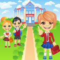 Vector happy smiling schoolchildren girls and boy Royalty Free Stock Photo