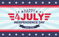 Vector Happy 4th of July background. USA Independence Day. Template for Fourth of July. Royalty Free Stock Photo