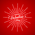 Vector Happy Valentines Day inscription with rays of blast on red background. Royalty Free Stock Photo