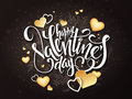 Vector happy valentines day lettering with golden hearts