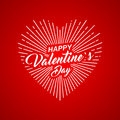 Vector Happy Valentines Day text lettering with heart shape on red background.