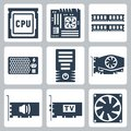 Vector hardware icons set cpu and motherboard ram power unit computer case video and sound card tv tuner cooler Royalty Free Stock Images