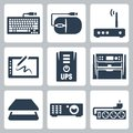 Vector hardware icons set keyboard and computer mouse modem graphics tablet ups multifunction device scanner projector and surge Stock Images