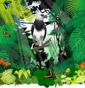Vector Harpy Eagle and butterflies in Jungle Rainforest
