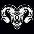 Vector head of mascot ram head isolated on black Royalty Free Stock Photo
