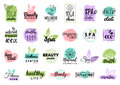 Vector health and beauty care labels. Spa, yoga centers badges. Wellness signs. Hand drawn tags and elements.