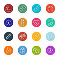 Vector Health And Fitness Line Icons Within Circles Collection