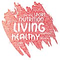 Vector healthy living positive nutrition sport Royalty Free Stock Photo