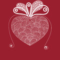 Vector heart big white with curls Royalty Free Stock Image