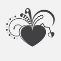 Vector heart black with many different elements Royalty Free Stock Photos