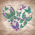 Vector heart with butterfly on craft paper valentine Royalty Free Stock Images