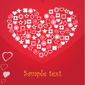 Vector heart card which consists of different elements Stock Photo