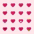 Vector heart emoticons collection. Cute emoji set