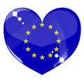 Vector heart with Europe flag texture Royalty Free Stock Images