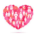 Vector heart with family and friends icons Royalty Free Stock Images