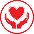 Vector heart and hands icon Stock Photos