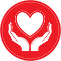 Vector heart and hands icon Stock Images