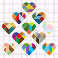 Vector heart puzzle on gird background Stock Photo