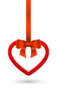 Vector heart from valentines day card with bow ribbon Royalty Free Stock Photo