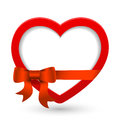 Vector heart from valentines day card with bow ribbon and place for text Stock Photo