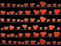 Vector hearts on black Royalty Free Stock Photo