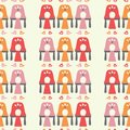 Vector hen coop seamless repeat pattern background.