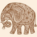 Vector Henna mehndi decorated Indian Elephant