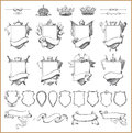 Vector heraldic element collection and Coat of arms template Royalty Free Stock Photo