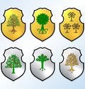 Vector heraldic elements set trees on polish escutcheon Royalty Free Stock Photos