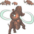 Vector herd of mammoths isolated on white background Royalty Free Stock Photography