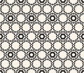 Vector hexagons texture, geometric seamless pattern with perfora