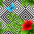 Vector hibiscus and palm leaves tropical pattern