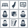 Vector higher education icons set Royalty Free Stock Photo