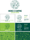 Vector hiking and camping gear visiting card. Business card set with abstract seamless background pattern.