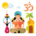 Vector Hindu woman with hookah. Flat style colorful Cartoon illustration.