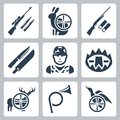 Vector hinting icons set sniper rifle hare shotgun hunting knife and sheath hunter trap deer hunting horn duck Royalty Free Stock Images