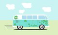 Vector hippie van side view Stock Images