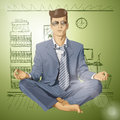 Vector hipster businessman in lotus pose meditatin relax concept meditating Royalty Free Stock Photo